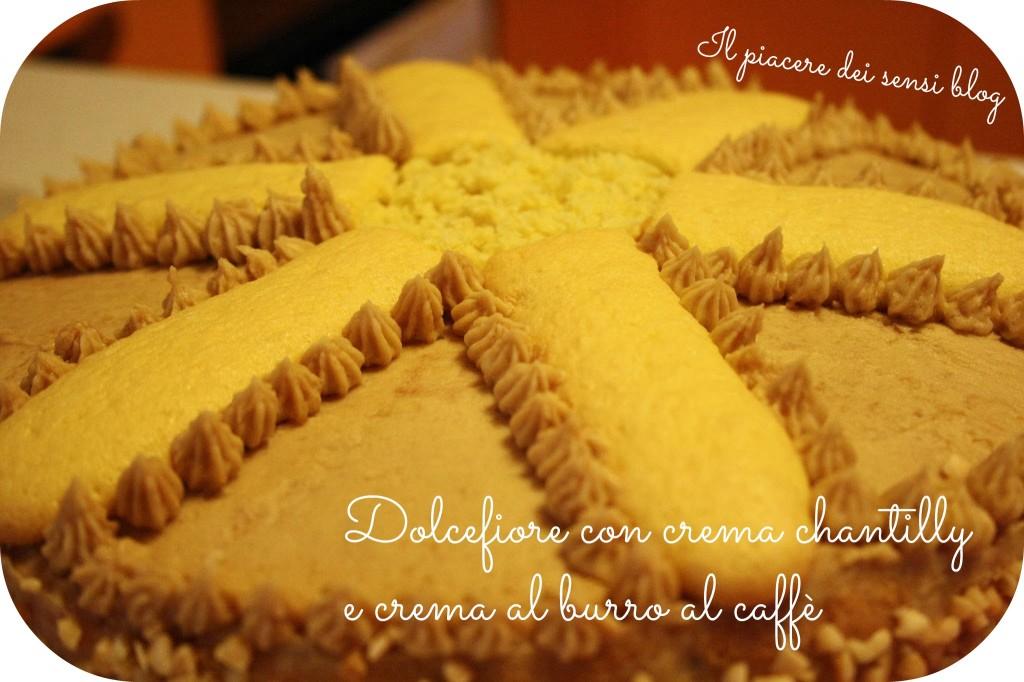 Dolcefiore torta di compleanno composta da pan di spagna farcito di crema chantilly e decorato con crema al burro al caffè