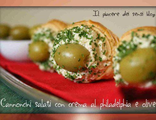 Cannoncini salati con crema al philadelphia e olive