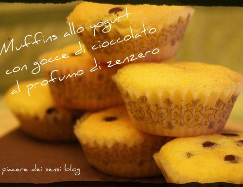 Muffins allo yogurt con gocce di cioccolato al profumo di zenzero