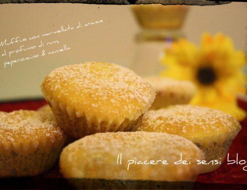 Muffins con marmellata di arance al profumo di rum, peperoncino & cannella