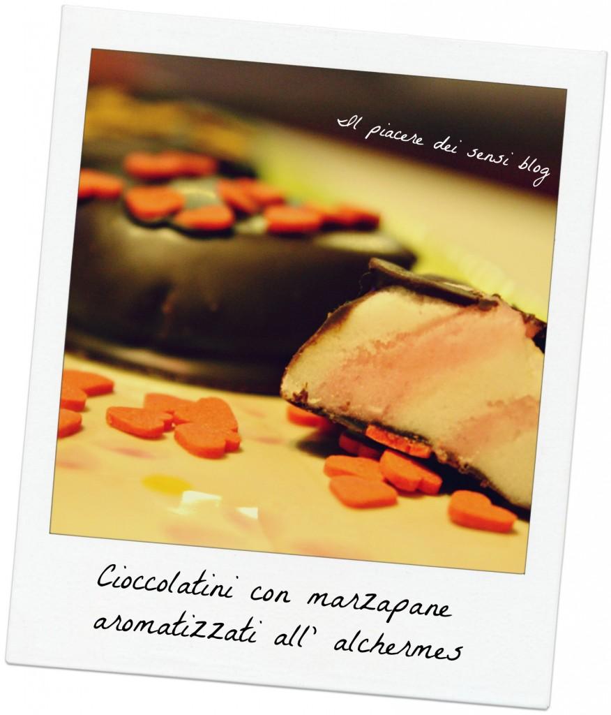 Cioccolatini con marzapane aromatizzati all' alchermes