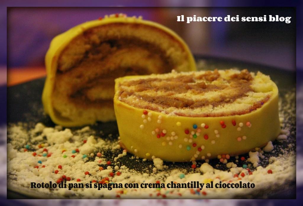 Rotolo di pan si spagna con crema chantilly al cioccolato