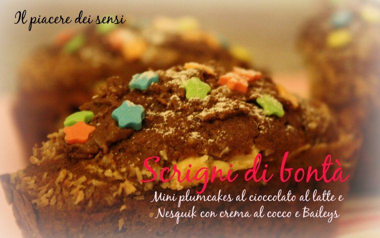 Mini plumcakes al cioccolato al latte e Nesquik con crema al cocco e Baileys – Scrigni di bontà