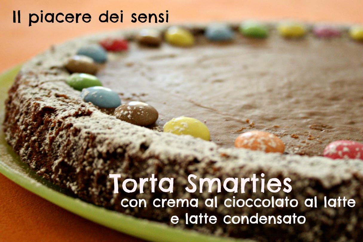 Torta Smarties con crema al cioccolato al latte e latte condensato