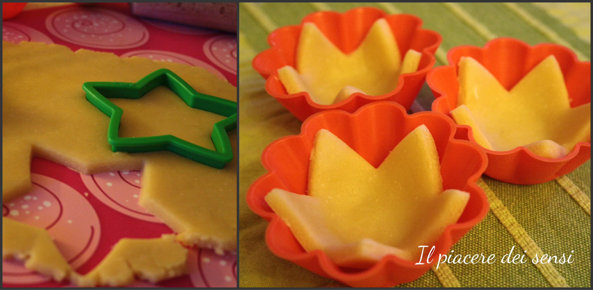 Cestini di pasta frolla salata con stracchino allo yogurt e frutta mostardata