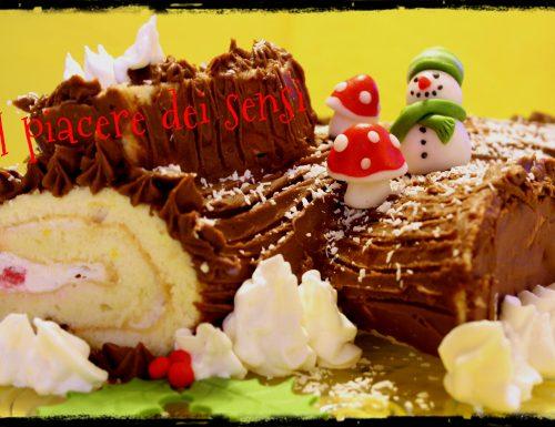 Tronchetto di Natale con amarene e ganache al cioccolato