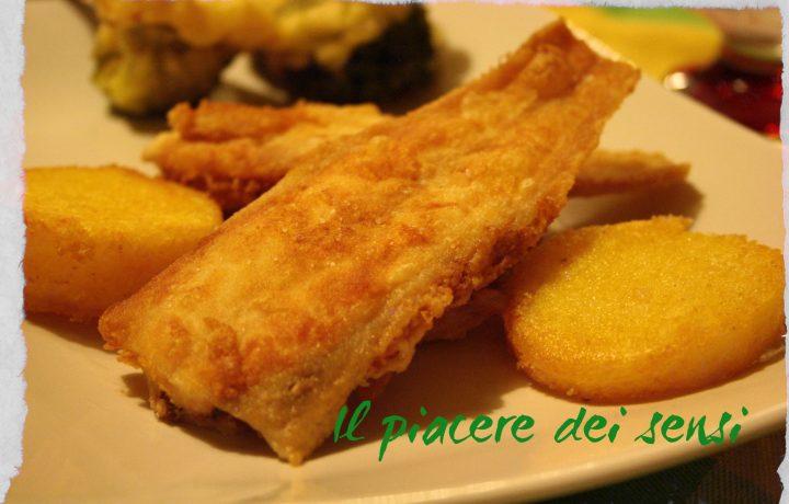 Sogliole fritte con polenta e broccoli pastellati