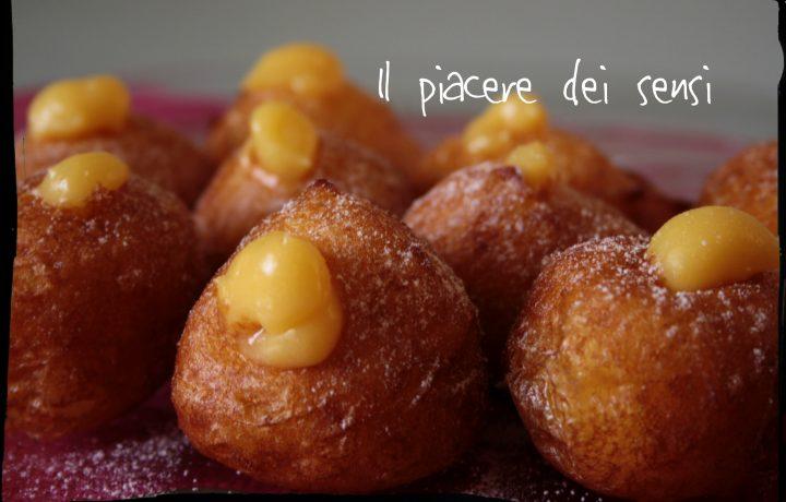 Frittelle con crema pasticcera alla grappa di Amarone
