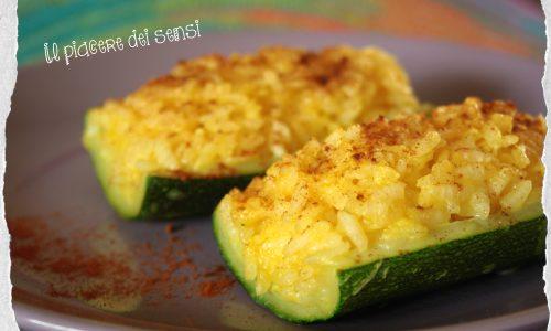 Barchette di zucchine con riso allo zafferano