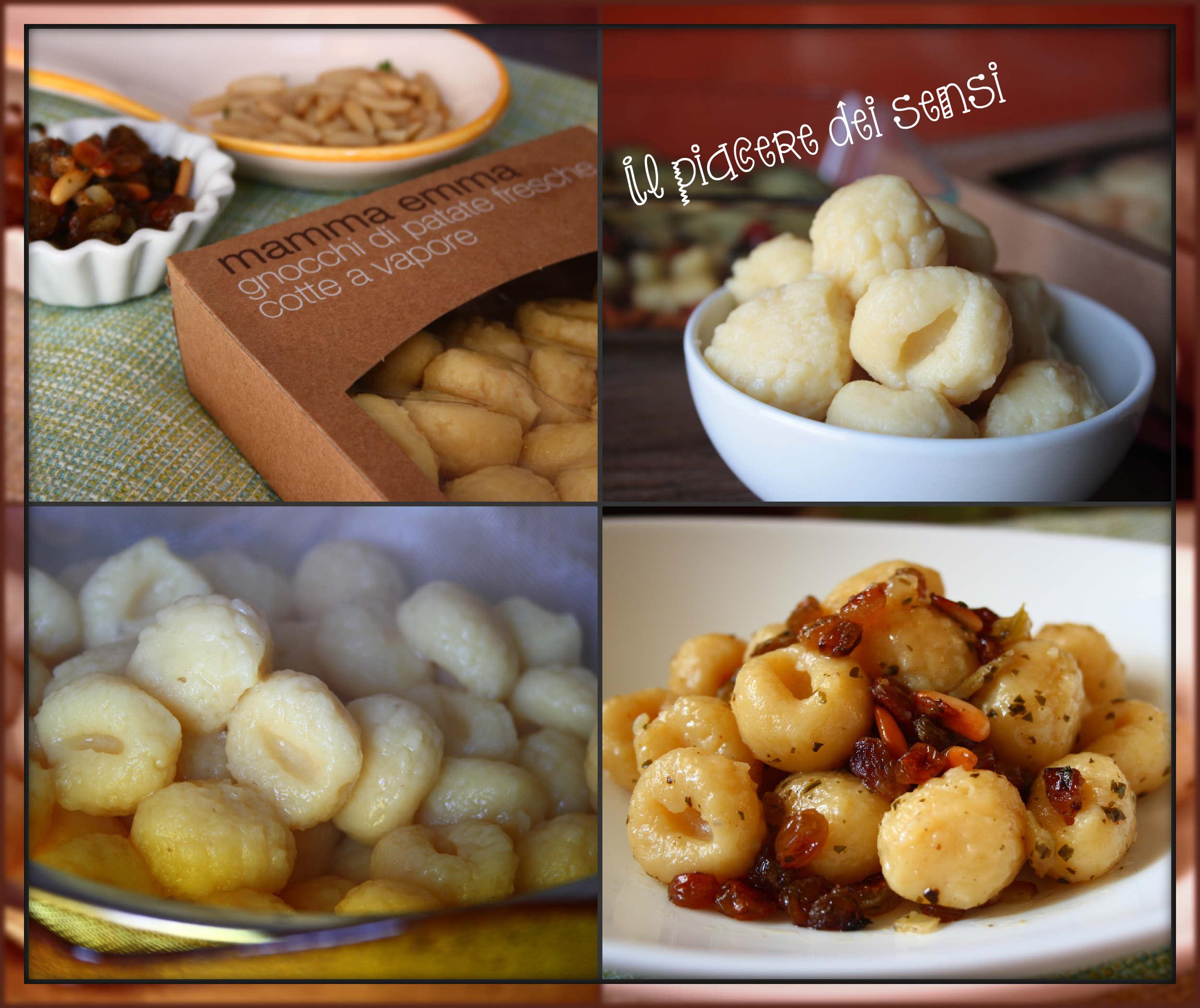 gnocchi Mamma Emma con uvetta, cipolla e pinoli