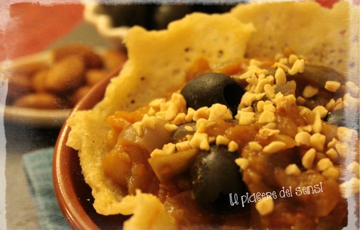 Cestini di grana con verdure alla contadina e mandorle