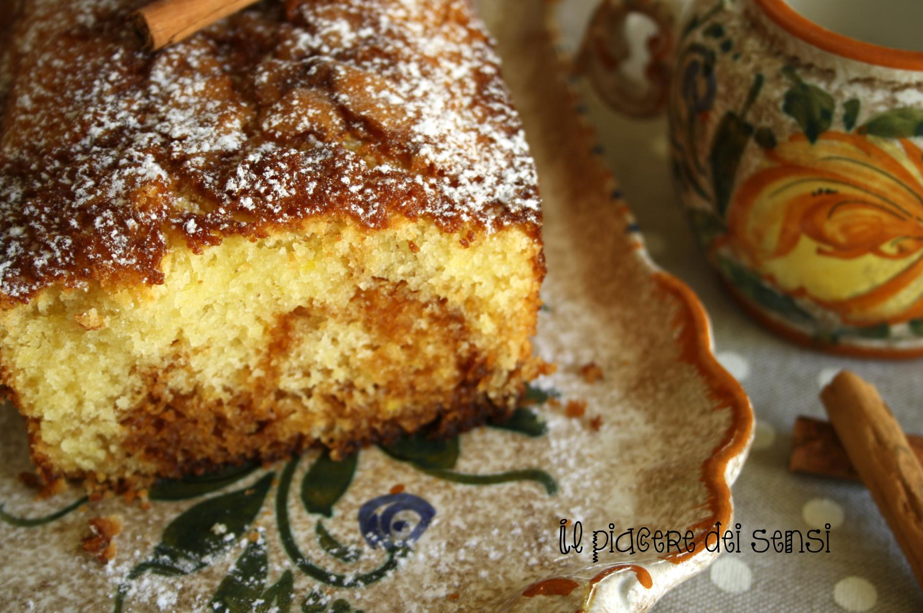 Plumcake bicolore con caramello e cannella