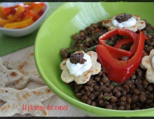 Lenticchie e fagiolini con peperoni in agrodolce
