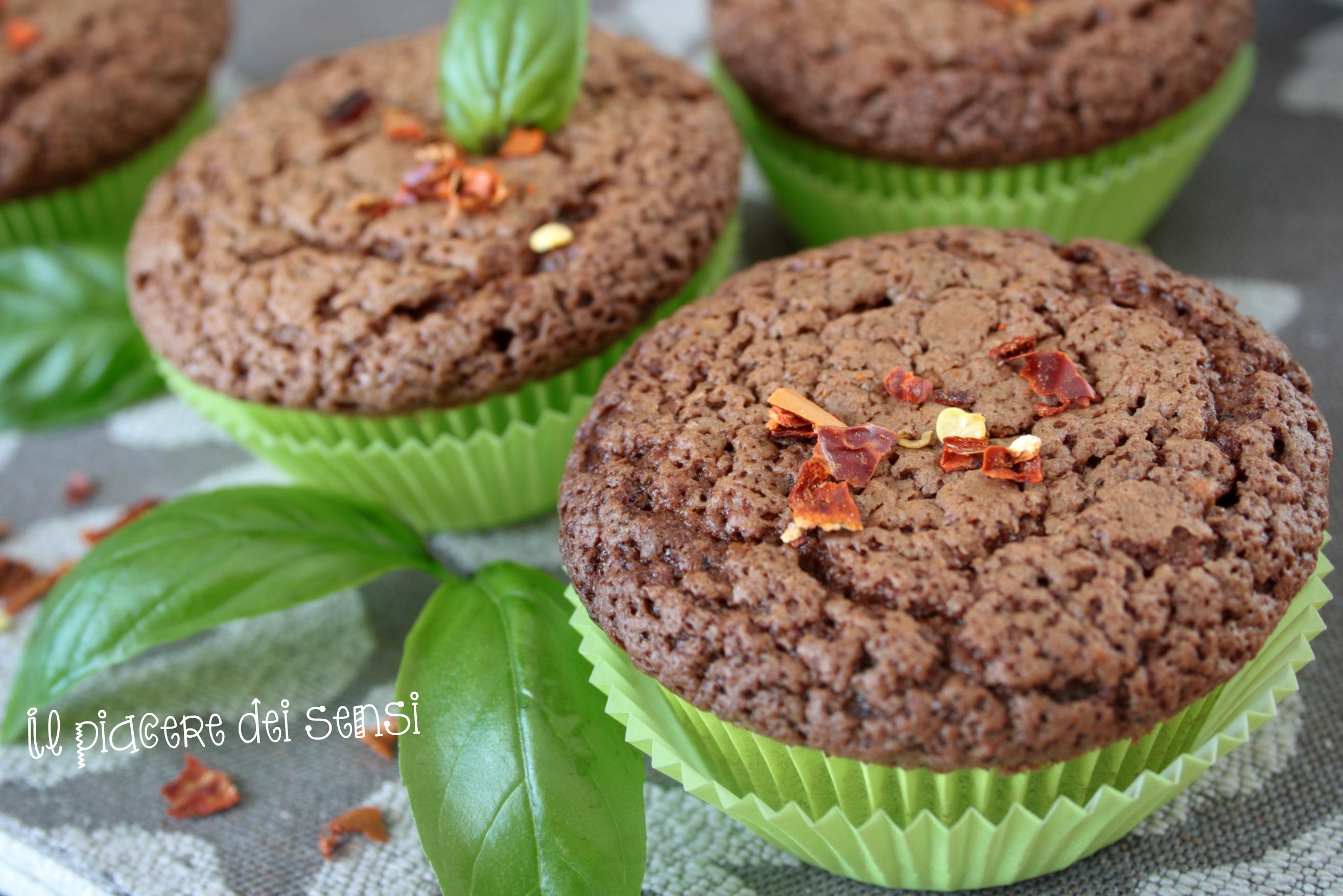 muffins cioccolato e basilico