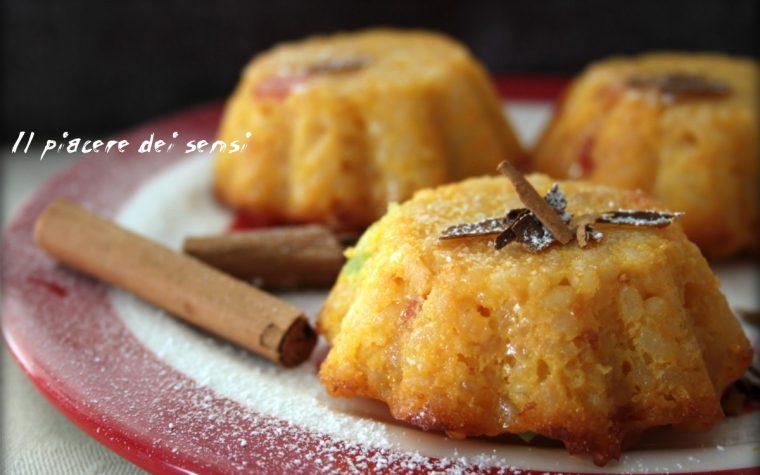 Tortini dolci di riso alla cannella con canditi