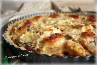 torta salata con prosciutto, ricotta e zucchine