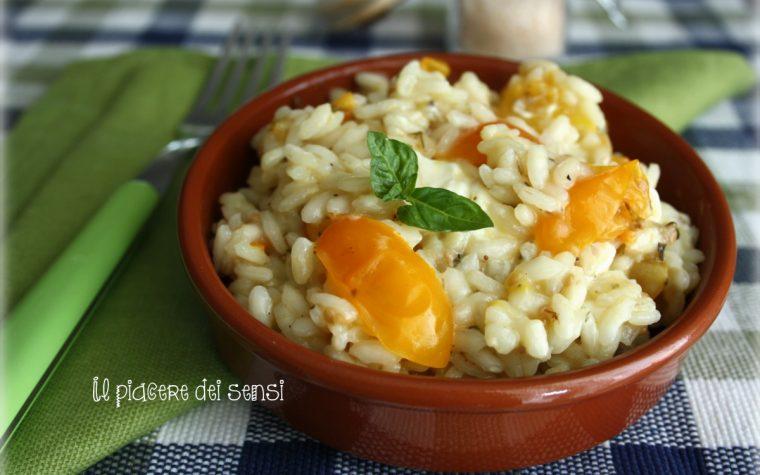 Risotto con pomodorini gialli e taleggio