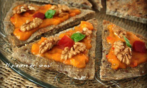 Triangoli ai cereali con noci e crema di peperoni – cottura sul fornello