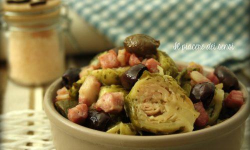 Cavoletti di Bruxelles con pancetta e olive taggiasche
