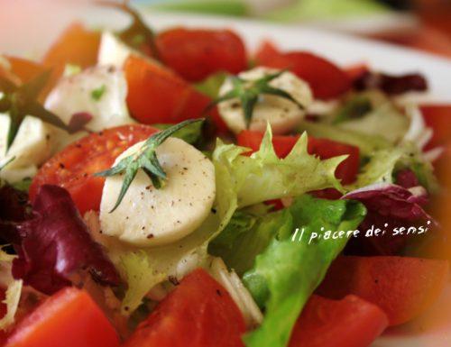 Insalata con bocconcini di bufala e pomodorini con condimento mediterraneo