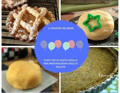 Raccolta ricette di pasta frolla per preparazioni dolci e salate