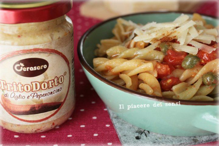 Pasta con pomodorini e capperi al peperoncino cerasaro