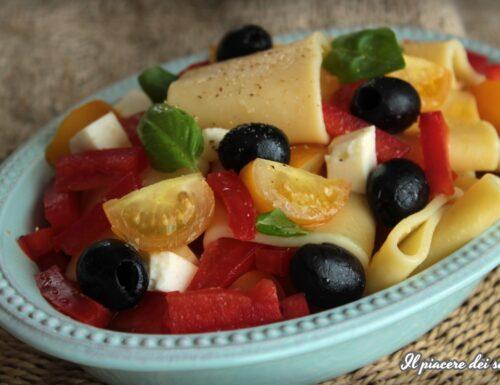 Insalata di paccheri con peperoni, olive e primo sale